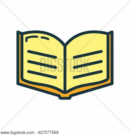 Textbook Schoolbook Icon, Educational Institution Process School, Color Outline Flat Vector Illustra