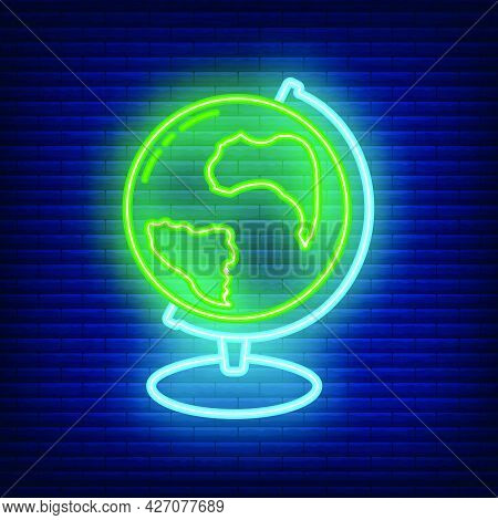 Globe Earth Icon Glow Neon Style, Educational Institution Process, Back To School Color Outline Flat