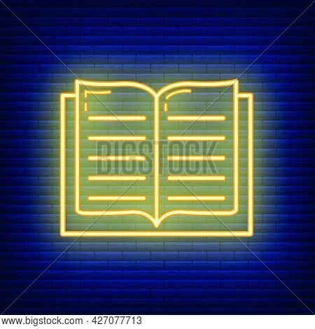 Textbook Schoolbook Icon Glow Neon Style, Educational Institution Process School, Color Outline Flat