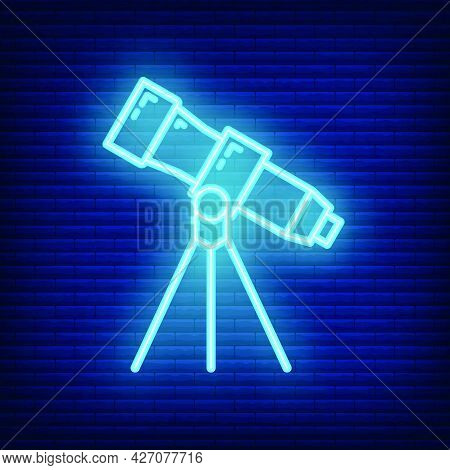 Telescope Icon Glow Neon Style, Educational Institution Process, Back To School Outline Flat Vector