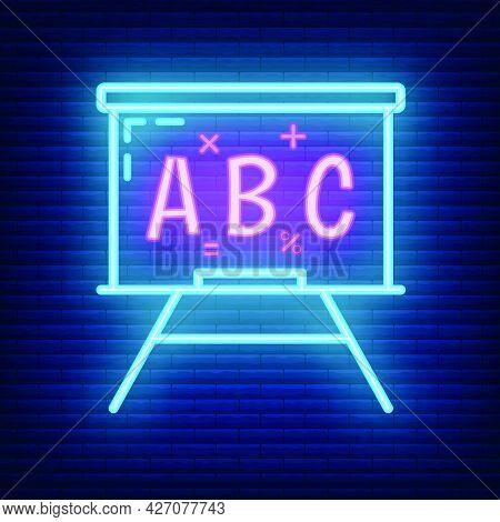 School Blackboard Icon Glow Neon Style, Educational Institution Process, Back To School Outline Flat