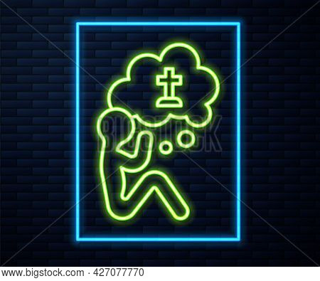 Glowing Neon Line Man Graves Funeral Sorrow Icon Isolated On Brick Wall Background. The Emotion Of G