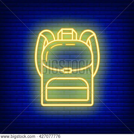 Backpack Icon Glow Neon Style, Educational Institution Process, Back To School Color Outline Flat Ve
