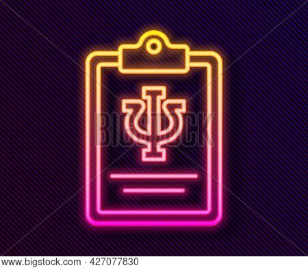 Glowing Neon Line Psychology Icon Isolated On Black Background. Psi Symbol. Mental Health Concept, P