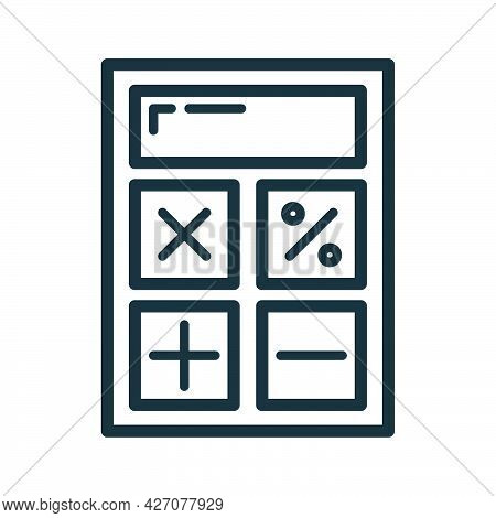 Calculator Icon, Educational Institution Process School, Outline Flat Vector Illustration, Isolated