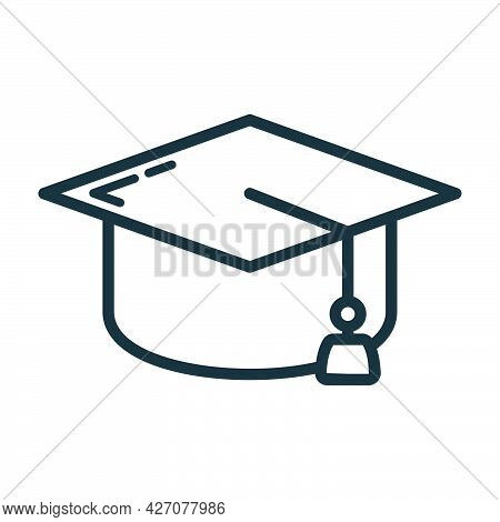 Graduate Hat Icon, Educational Institution Process, Back To School Outline Flat Vector Illustration,