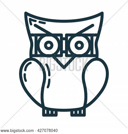 Smart Knowledge Owl Icon, Educational Institution Process, Back To School Outline Flat Vector Illust