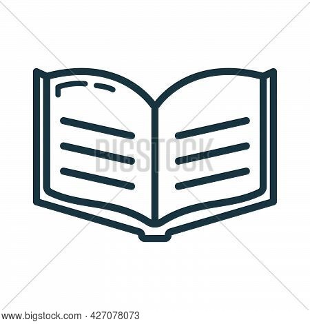 Textbook Schoolbook Icon, Educational Institution Process School, Outline Flat Vector Illustration,