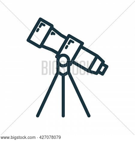 Telescope Icon, Educational Institution Process, Back To School Outline Flat Vector Illustration, Is