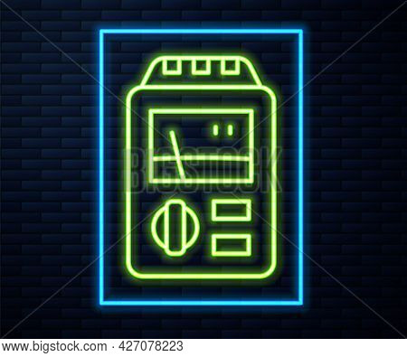 Glowing Neon Line Dosimeter For Measuring Radiation Icon Isolated On Brick Wall Background. Gamma Ra