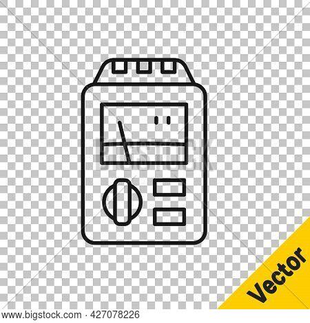 Black Line Dosimeter For Measuring Radiation Icon Isolated On Transparent Background. Gamma Radiatio
