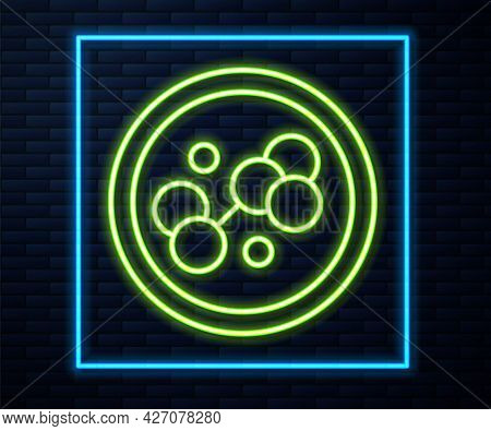 Glowing Neon Line Molecule Icon Isolated On Brick Wall Background. Structure Of Molecules In Chemist