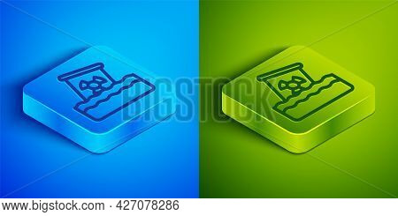 Isometric Line Radioactive Waste In Barrel Icon Isolated On Blue And Green Background. Toxic Waste C