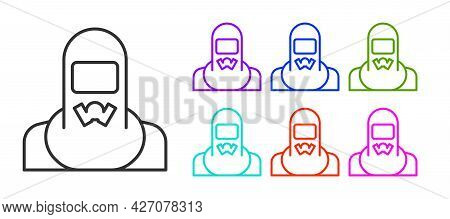 Black Line Nuclear Power Plant Worker Wearing Protective Clothing Icon Isolated On White Background.
