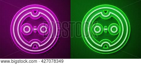 Glowing Neon Line Electrical Outlet Icon Isolated On Purple And Green Background. Power Socket. Rose