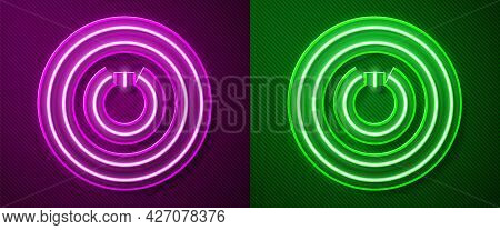 Glowing Neon Line Power Button Icon Isolated On Purple And Green Background. Start Sign. Vector