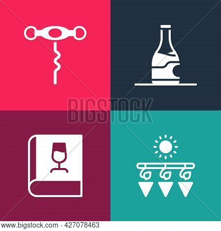 Set Pop Art Drying Grapes, Book About Wine, Bottle Of And Wine Corkscrew Icon. Vector