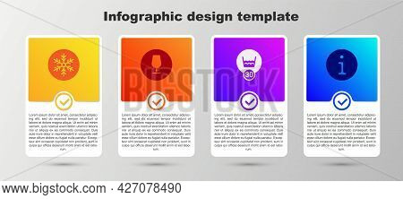 Set Snowflake, Fragile Broken Glass, Temperature Wash And Information. Business Infographic Template