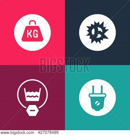 Set Pop Art Electric Plug, Delicate Wash, Bomb Explosion And Weight Icon. Vector