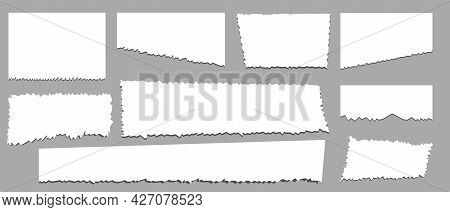 Torn Sheets Of Paper. Torn Strips Of A Note. Vector Illustration. Isolated On Background.