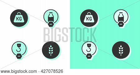 Set Wheat, Weight, Industrial Hook And Lactose Free Icon. Vector