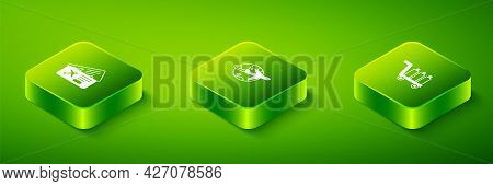 Set Isometric Globe With Flying Plane, Trolley Baggage And Airline Ticket Icon. Vector