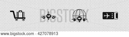 Set Trolley Baggage, Plane, Globe With Flying Plane And Airline Ticket Icon. Vector