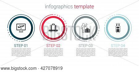 Set Plane, Conveyor Belt With Suitcase, Tourist And Suitcase. Business Infographic Template. Vector