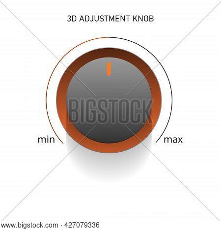 Web Icon Round Adjustable Button. There Is An Orange-beige Glow Bar Around The Gray Button. Minimal