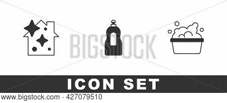 Set Home Cleaning Service, Dishwashing Liquid Bottle And Basin With Soap Suds Icon. Vector