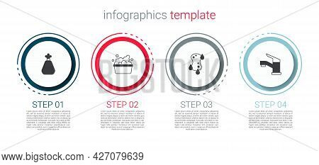 Set Garbage Bag, Basin With Soap Suds, Sponge And Water Tap. Business Infographic Template. Vector