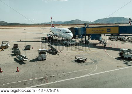 Athens, Greece - October 1, 2020: Austrian Airlines Airplane Parked At International Athens Airport