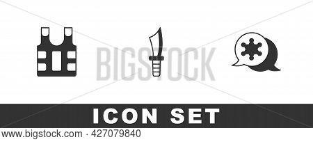 Set Bulletproof Vest, Military Knife And Hexagram Sheriff Icon. Vector