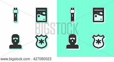 Set Police Badge, Electric Shocker, Thief Mask And Plastic Bag Of Drug Icon. Vector