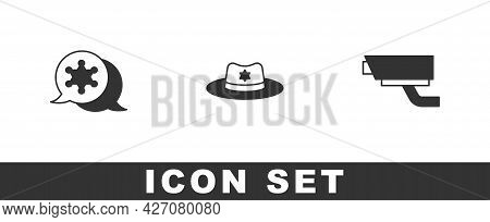 Set Hexagram Sheriff, Sheriff Hat With Badge And Security Camera Icon. Vector