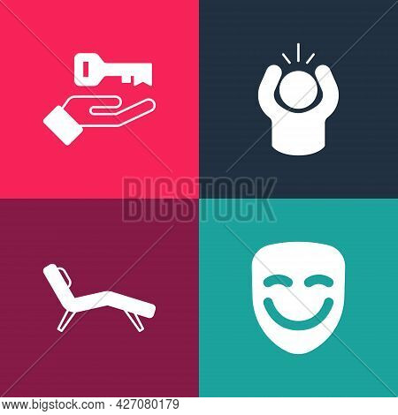 Set Pop Art Comedy Theatrical Mask, Armchair, Anger And Solution To Problem Icon. Vector