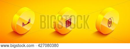 Set Isometric Skate Park, Knee Pads And Skateboard Ball Bearing Icon. Vector