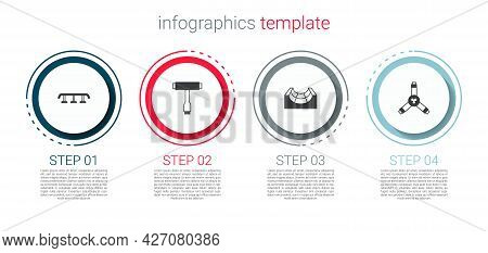Set Skateboard Stairs With Rail, T Tool, Park And Y-tool. Business Infographic Template. Vector