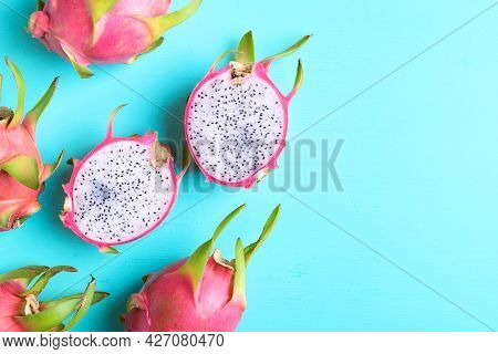 Dragon Fruit Or Pitaya On Color Background With Copy Space, Tropical Fruit