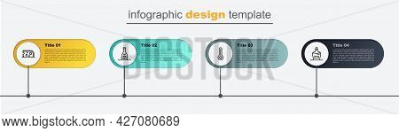 Set Line Old Bottle Of Wine, Meteorology Thermometer, Champagne And Cheese. Business Infographic Tem