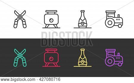 Set Line Gardening Scissors, Fermentation Of Grapes, Champagne Bottle And Tractor On Black And White