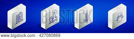 Set Isometric Line Cardboard Box Of Wine, Wine Bottle With Glass, Meteorology Thermometer And Tastin