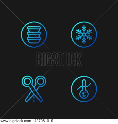 Set Line Meteorology Thermometer, Scissors With Cut Line, Bowl And Snowflake. Gradient Color Icons.