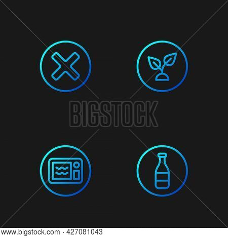 Set Line Bottle, Microwave Oven, X Mark, Cross In Circle And Plant Based. Gradient Color Icons. Vect