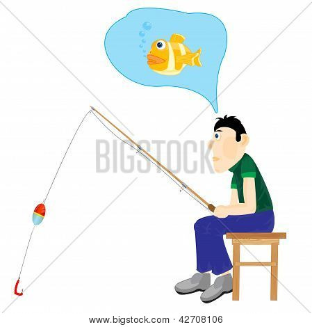 Illustration Men Thinking About Fishing