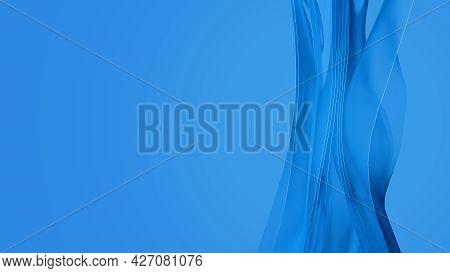 Waving Transparent Blue Layered Cloth. Abstract 3d Render Illustration Fluttering Plastic