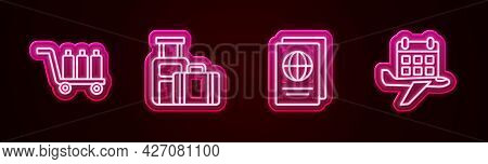 Set Line Trolley Baggage, Suitcase, Passport And Calendar And Airplane. Glowing Neon Icon. Vector