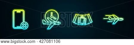 Set Line No Cell Phone, Flight Time, Conveyor Belt With Suitcase And Plane. Glowing Neon Icon. Vecto