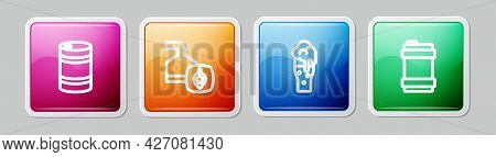 Set Line Metal Beer Keg, Beer Brewing Process, Glass Of And . Colorful Square Button. Vector