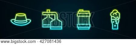 Set Line Oktoberfest Hat, Beer Brewing Process, Metal Beer Keg And Glass Of. Glowing Neon Icon. Vect